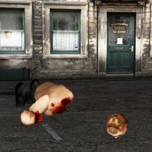 Gory scene from zombie slasher